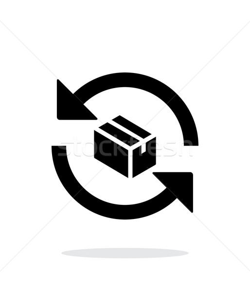 Stock fotó: Csere · doboz · egyszerű · ikon · fehér · üzlet