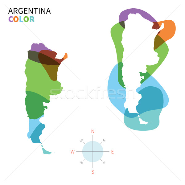Abstract vector color map of Argentina with transparent paint effect. Stock photo © tkacchuk