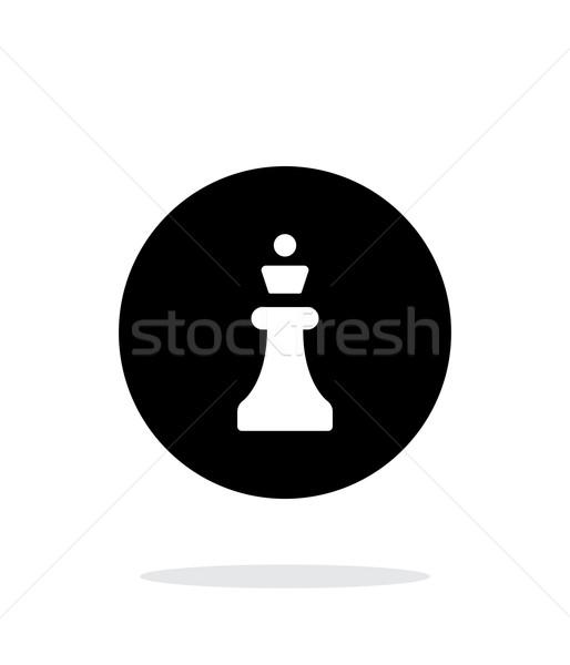 Xadrez rainha simples ícone branco preto Foto stock © tkacchuk