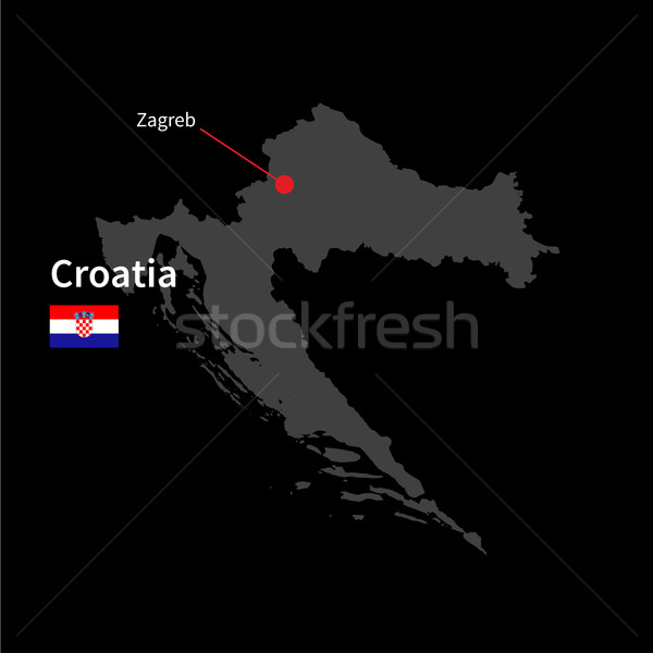 Detailed map of Croatia and capital city Zagreb with flag on black background Stock photo © tkacchuk