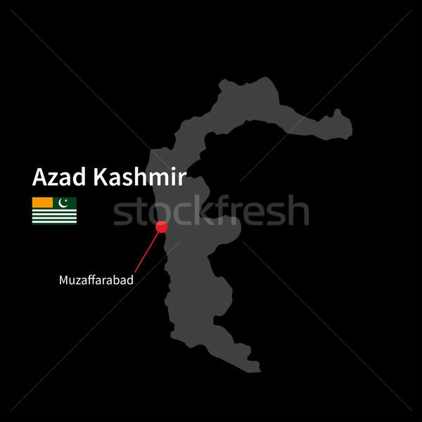 Detailed map of Azad Kashmir and capital city Muzaffarabad with flag on black background Stock photo © tkacchuk
