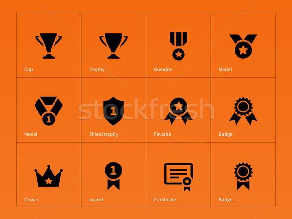 Beker iconen oranje sport metaal Stockfoto © tkacchuk