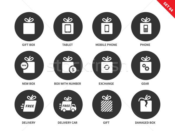 Teknoloji hediyeler simgeler beyaz kutu vektör Stok fotoğraf © tkacchuk