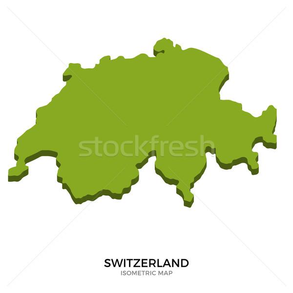 изометрический карта Швейцария подробный изолированный 3D Сток-фото © tkacchuk