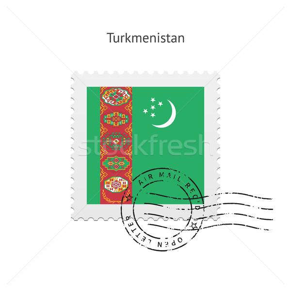 Türkmenisztán zászló postabélyeg fehér felirat levél Stock fotó © tkacchuk