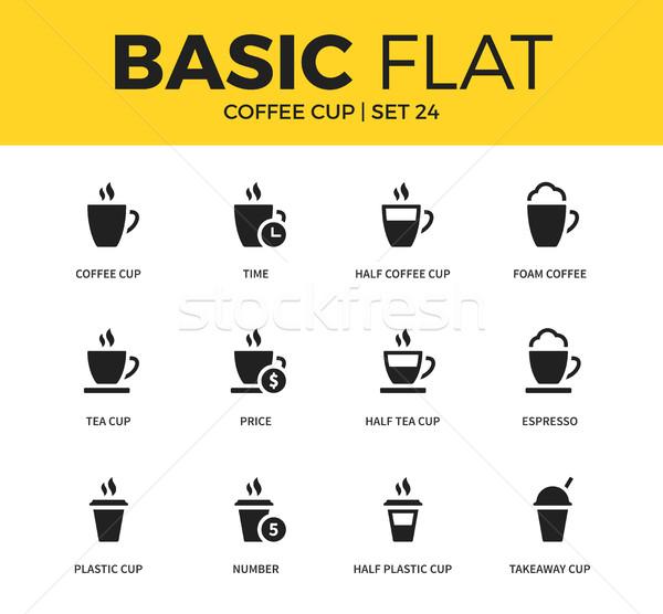 Basic set of coffee icons Stock photo © tkacchuk