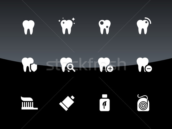 Stockfoto: Tand · tanden · iconen · zwarte · glimlach · gezondheid