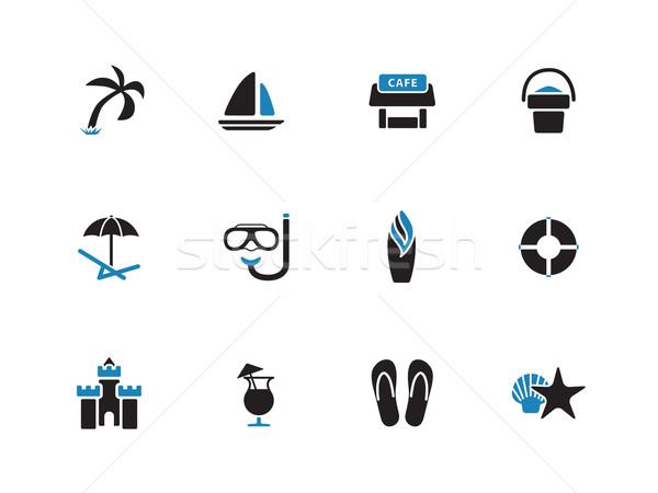 Beach duotone icons on white background. Stock photo © tkacchuk