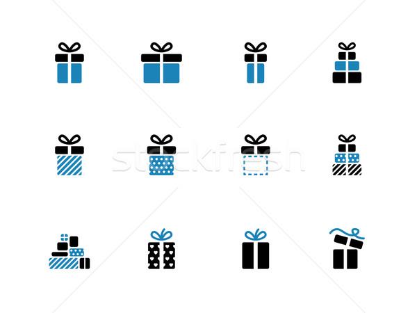 Gift box duotone icons on white background. Stock photo © tkacchuk