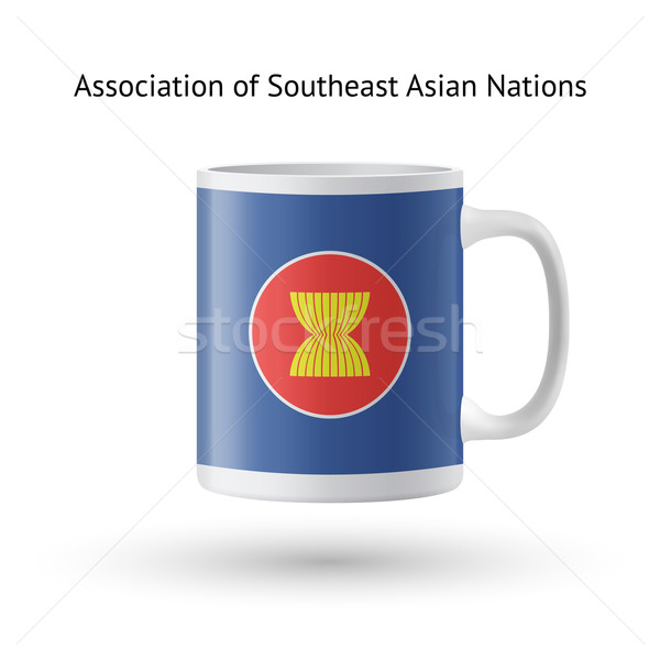 Association of Southeast Asian Nations flag souvenir mug on white. Stock photo © tkacchuk