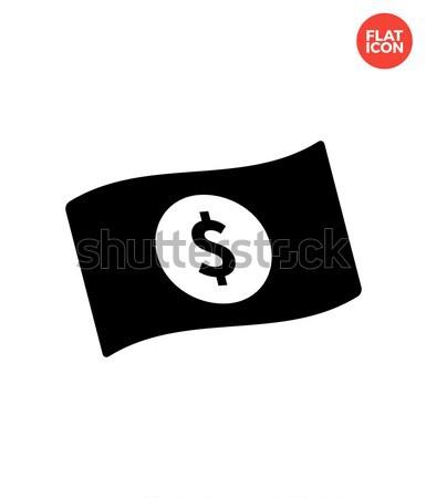 Integet bankjegy dollárjel egyszerű ikon fehér Stock fotó © tkacchuk