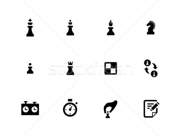 шахматам иконки белый спорт знак совета Сток-фото © tkacchuk