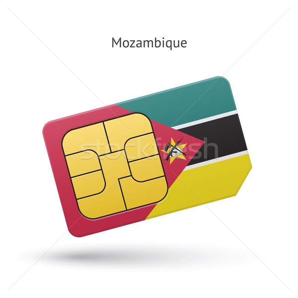 Mozambique mobile phone sim card with flag. Stock photo © tkacchuk