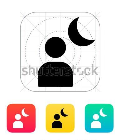 Night portrait simple icon on white background. Stock photo © tkacchuk
