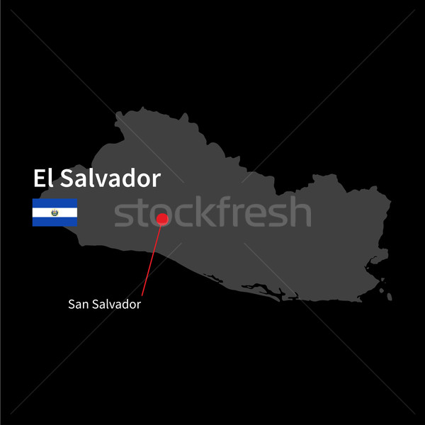 Detailed map of El Salvador and capital city San Salvador with flag on black background Stock photo © tkacchuk