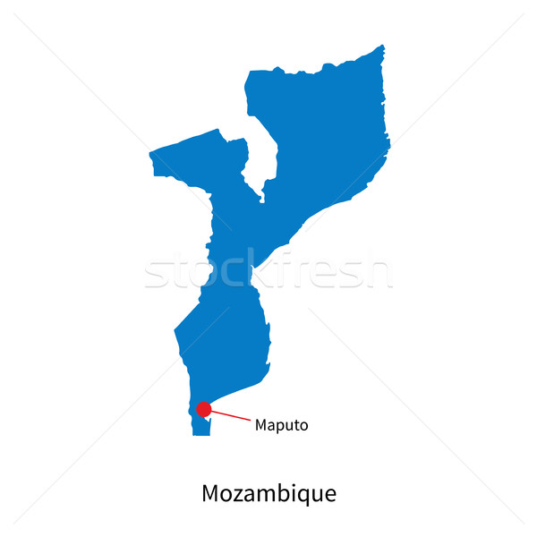 Detailed vector map of Mozambique and capital city Maputo Stock photo © tkacchuk