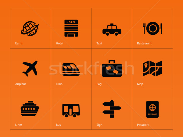 Travel icons on orange background. Stock photo © tkacchuk