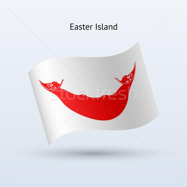 Foto stock: Ilha · de · Páscoa · bandeira · forma · cinza · assinar