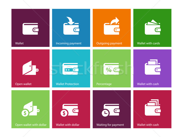 Wallet and translation icons on color background Stock photo © tkacchuk