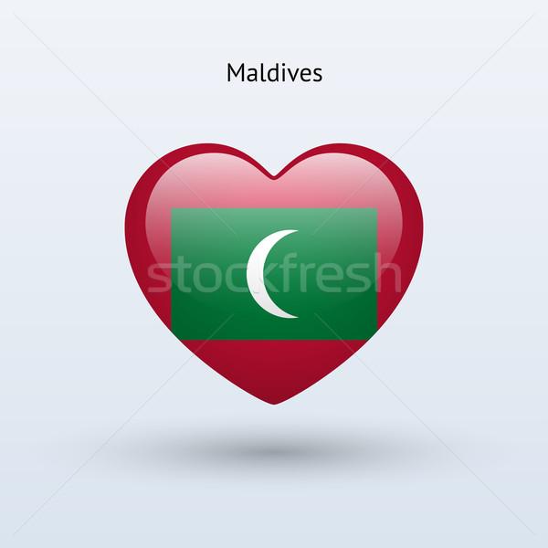 любви Мальдивы символ сердце флаг икона Сток-фото © tkacchuk