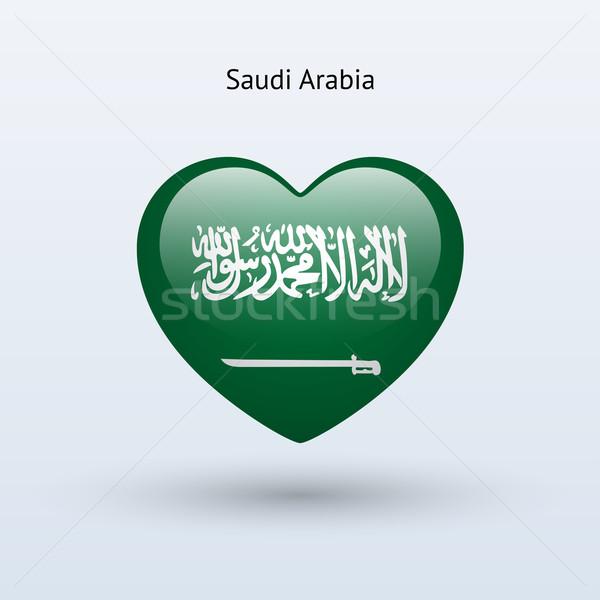 Szeretet Szaúd-Arábia szimbólum szív zászló ikon Stock fotó © tkacchuk