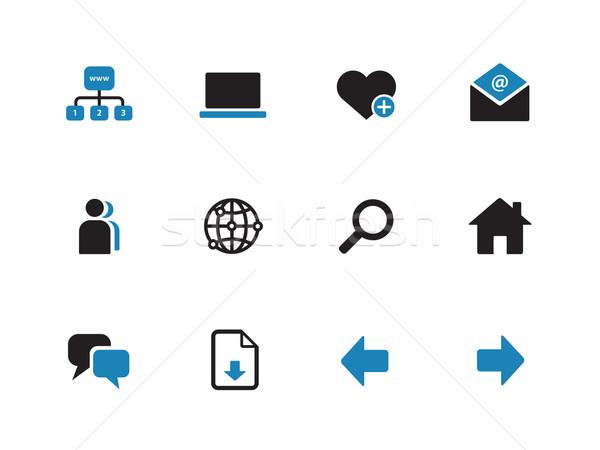 Network duotone icons on white background. Stock photo © tkacchuk