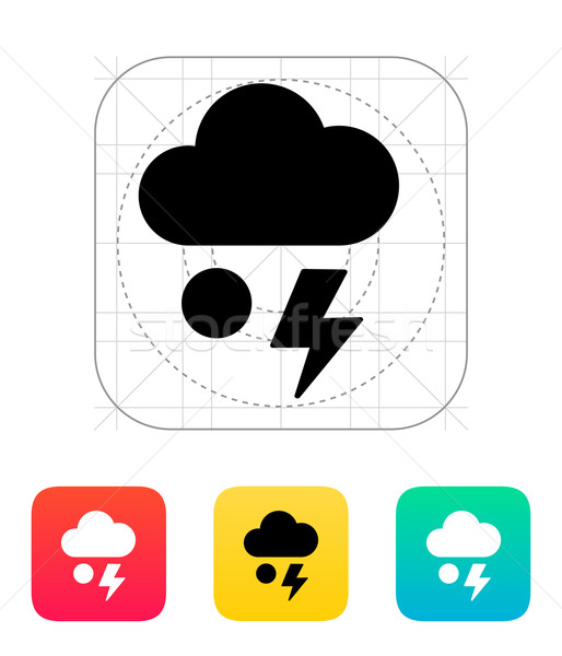 Hail with lightning weather icon. Stock photo © tkacchuk