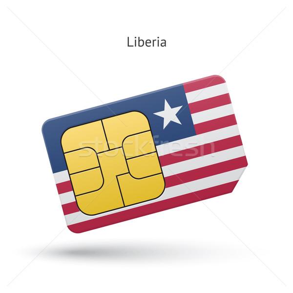 Libéria telefone móvel cartão bandeira negócio projeto Foto stock © tkacchuk