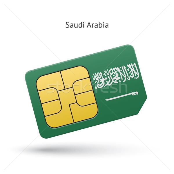 Saoedi-Arabië mobiele telefoon kaart vlag business ontwerp Stockfoto © tkacchuk