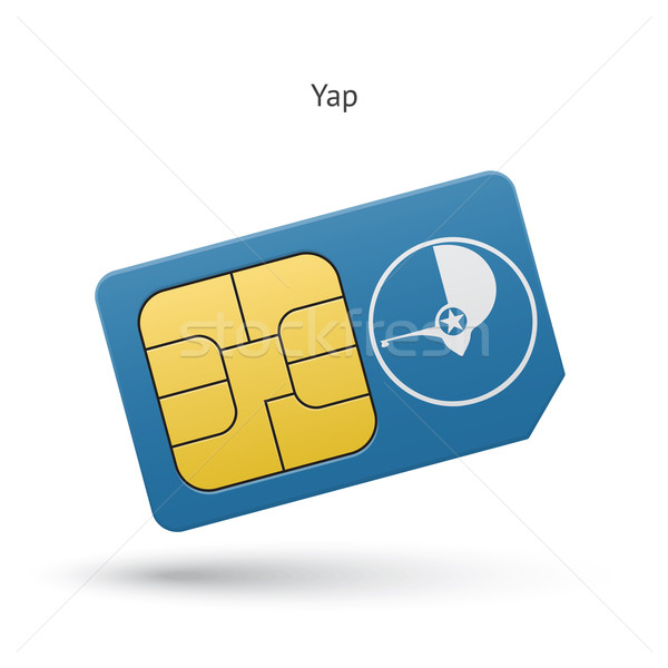 Yap mobile phone sim card with flag. Stock photo © tkacchuk