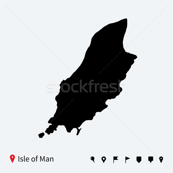 High detailed vector map of Isle of Man with navigation pins. Stock photo © tkacchuk