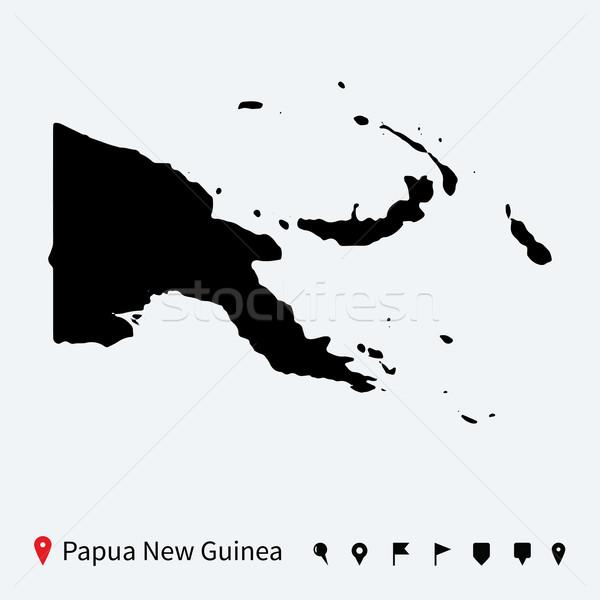 высокий подробный вектора карта Папуа-Новая Гвинея навигация Сток-фото © tkacchuk