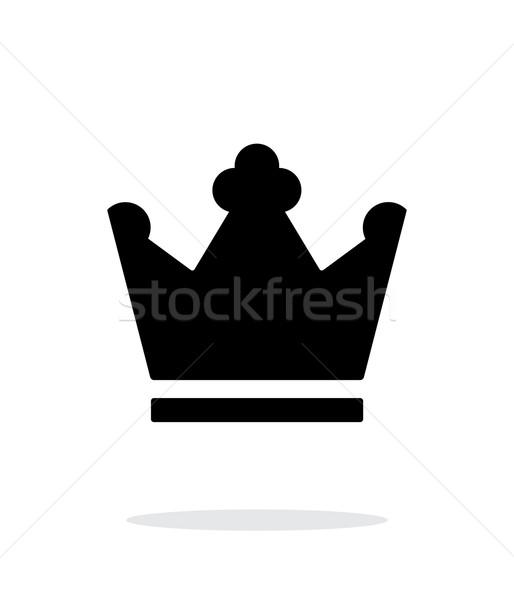 Kroon koning icon witte achtergrond silhouet Stockfoto © tkacchuk