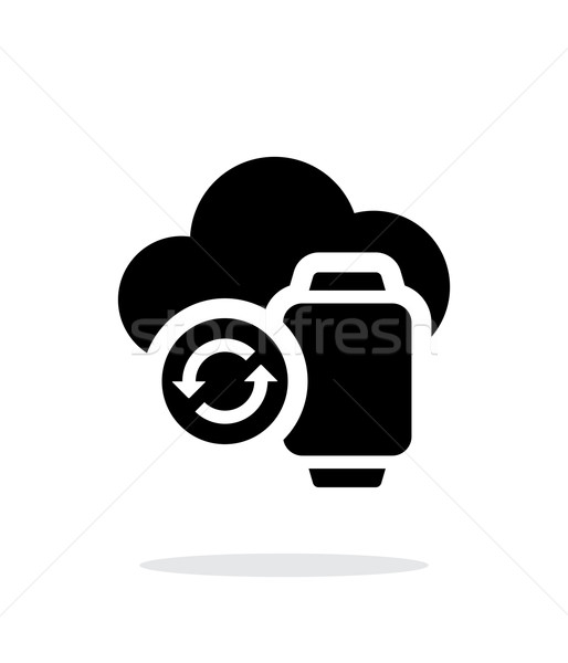 Smart watches sync with cloud simple icon on white background. Stock photo © tkacchuk