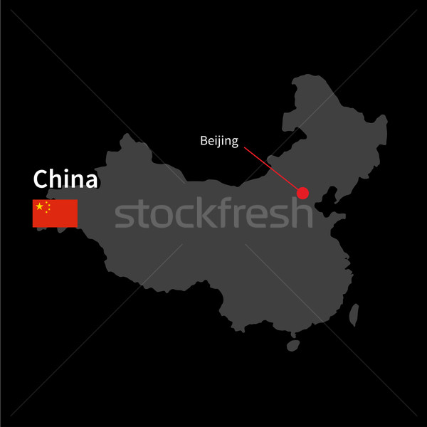 Részletes térkép Kína város Peking zászló Stock fotó © tkacchuk