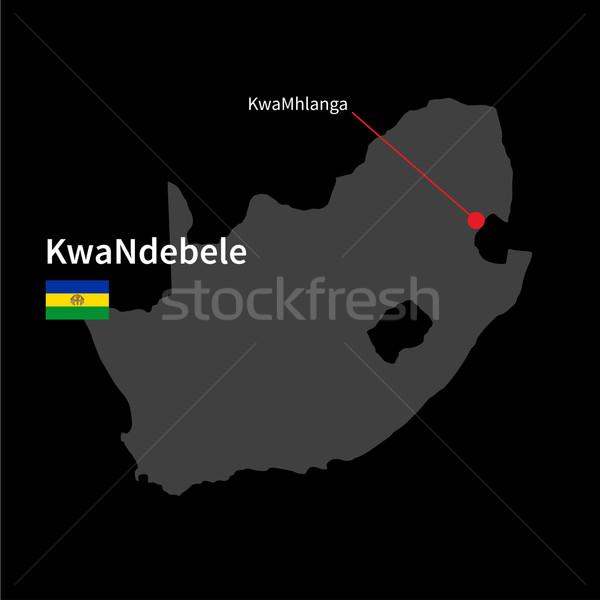 Stock photo: Detailed map of KwaNdebele and capital city KwaMhlanga with flag on black background