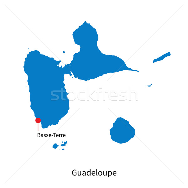 Stock photo: Detailed vector map of Guadeloupe and capital city Basse-Terre