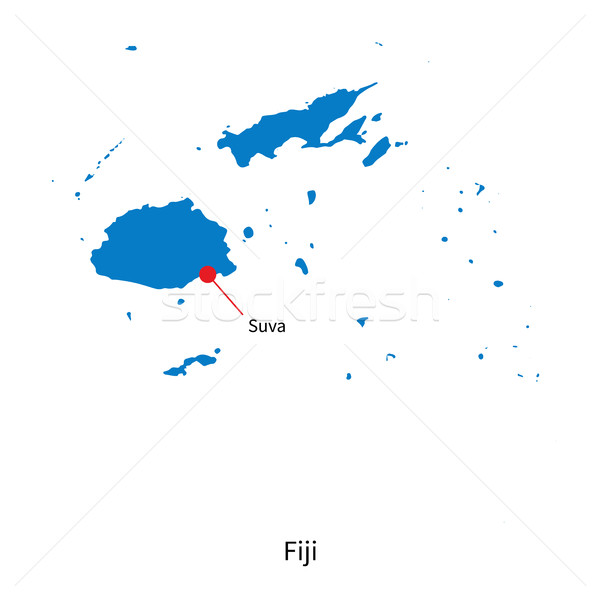 Detailed vector map of Fiji and capital city Suva Stock photo © tkacchuk