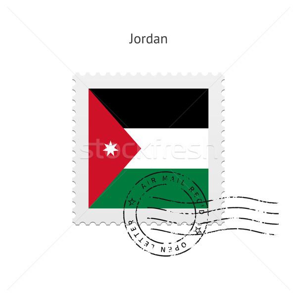 Jordánia zászló postabélyeg fehér felirat levél Stock fotó © tkacchuk