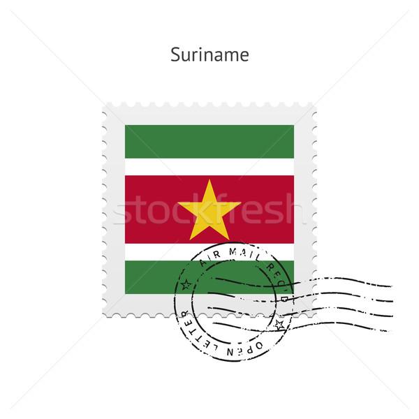 Суринам флаг почтовая марка белый знак письме Сток-фото © tkacchuk