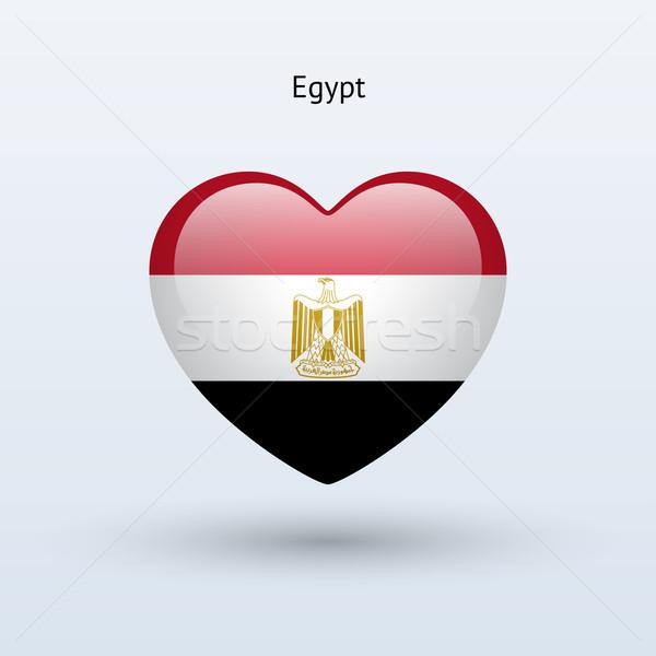 Love Egypt symbol. Heart flag icon. Stock photo © tkacchuk