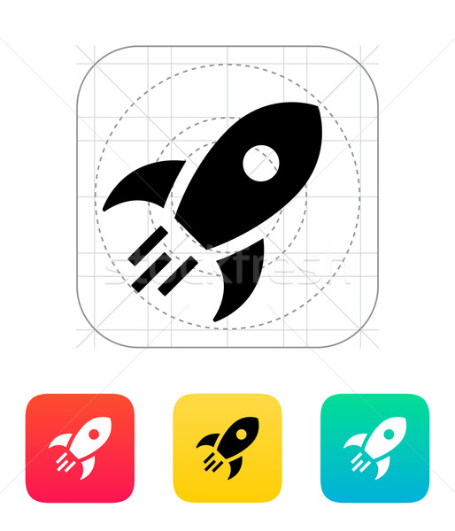 Rocket flies icon on white background. Stock photo © tkacchuk