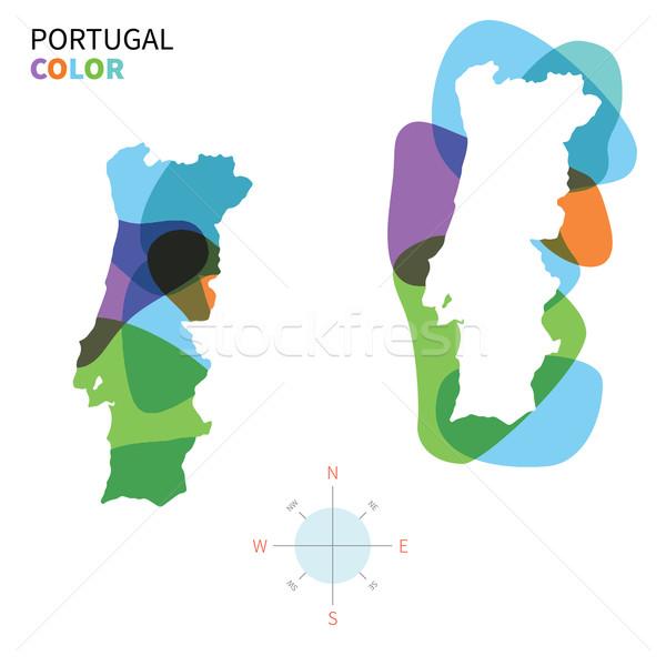 Résumé vecteur couleur carte Portugal transparent Photo stock © tkacchuk