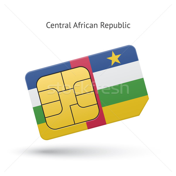 Central African Republic mobile phone sim card with flag. Stock photo © tkacchuk