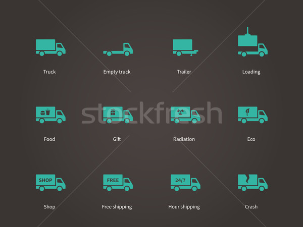 Delivery and cargo truck icons set. Stock photo © tkacchuk