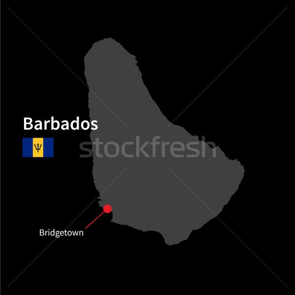 подробный карта Барбадос город флаг черный Сток-фото © tkacchuk