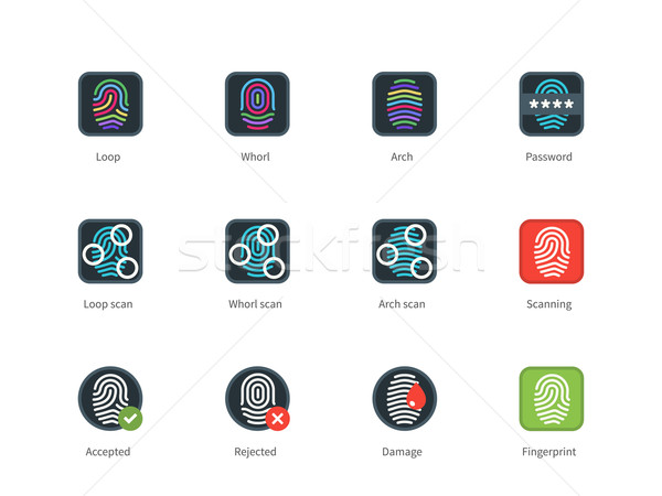 Fingerprint types and Scanning color icons on white background. Stock photo © tkacchuk