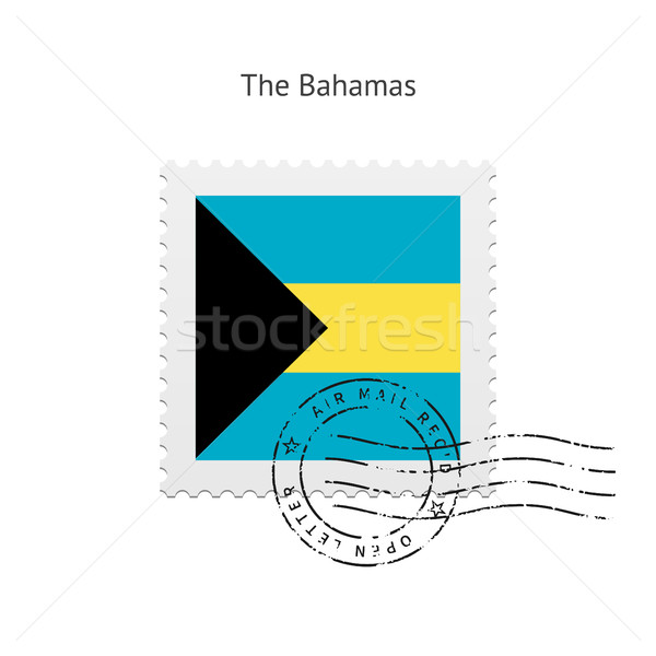 Bahamák zászló postabélyeg fehér felirat levél Stock fotó © tkacchuk