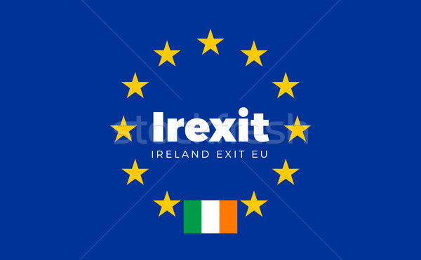 Flag of Ireland on European Union. Irexit - Ireland Exit EU Euro Stock photo © tkacchuk