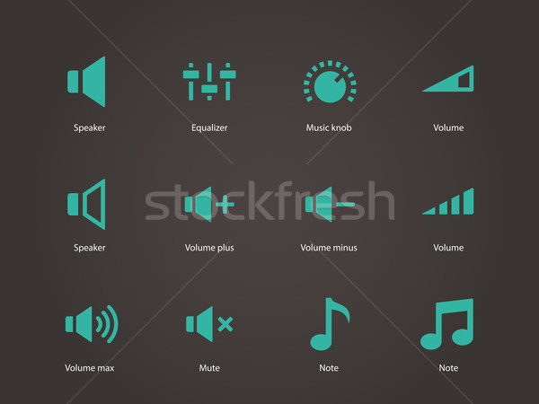 оратора иконки объем контроль компьютер музыку Сток-фото © tkacchuk